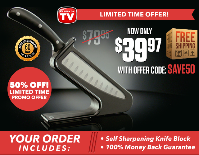 Limited time offer now only $39.99 plus free shipping. Free upgrade to the deluxe package with self sharpening knife block & 100% money back guarantee.