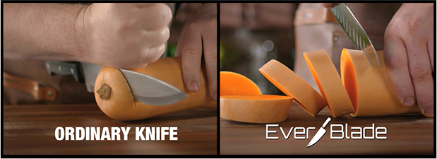 Ordinary Knife vs. EverBlade cutting a squash