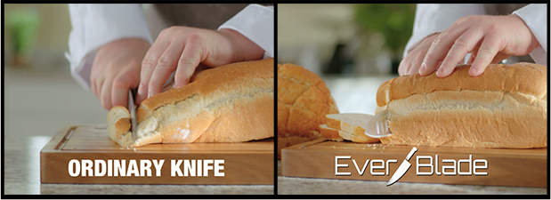 Ordinary Knife vs. EverBlade cutting a loaf of bread