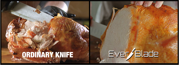 Ordinary Knife vs. EverBlade cutting a chicken off the bone