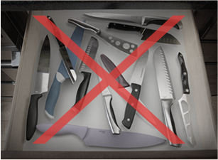 Image of a lot of knife in a drawer